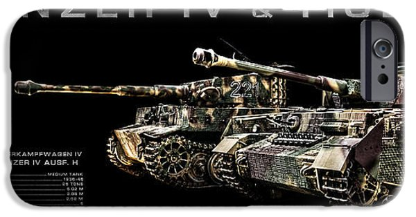 Fury iPhone Cases - Panzer IV and Tiger Tanks BK BG 2 iPhone Case by Weston Westmoreland