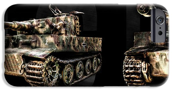 Fury iPhone Cases - Panzer Tiger I Front and Side BK BG iPhone Case by Weston Westmoreland