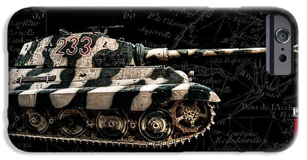 Fury iPhone Cases - Panzer Tiger II Side BK BG iPhone Case by Weston Westmoreland
