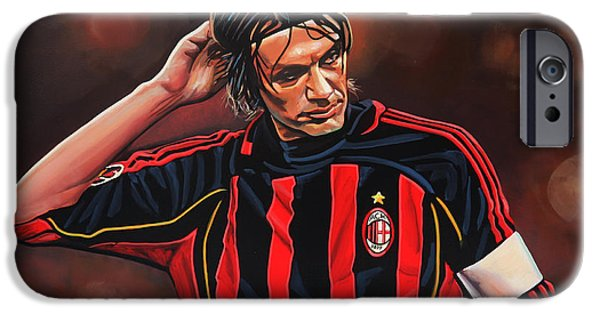 Football Paintings iPhone Cases - Paolo Maldini iPhone Case by Paul  Meijering