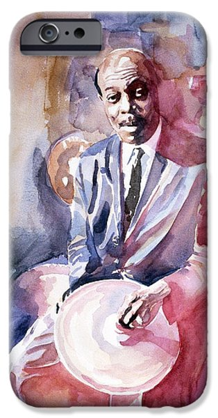 Papa Jo Jones Jazz Drummer iPhone Case by David Lloyd Glover