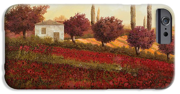 Red Tree iPhone Cases - Papaveri In Toscana iPhone Case by Guido Borelli