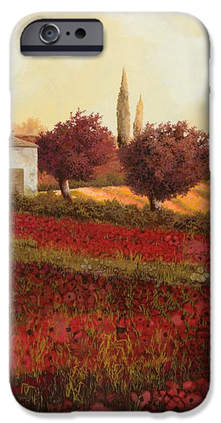papaveri in toscana iPhone Case by Guido Borelli