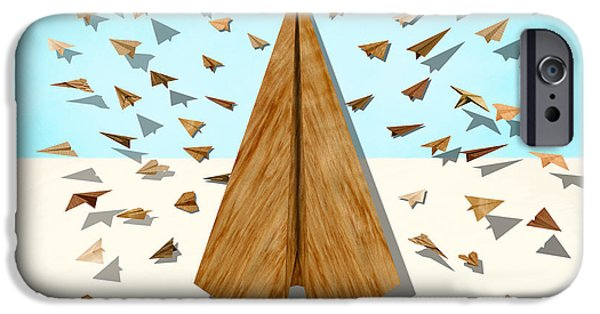 Metaphor iPhone Cases - Paper Airplanes of Wood 10 iPhone Case by YoPedro