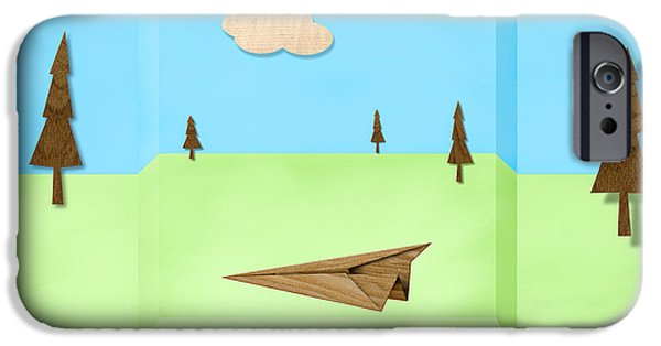 Glider iPhone Cases - Paper Airplanes of Wood 11 iPhone Case by Yo Pedro