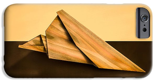 Aeronautics iPhone Cases - Paper Airplanes of Wood 2 iPhone Case by Yo Pedro