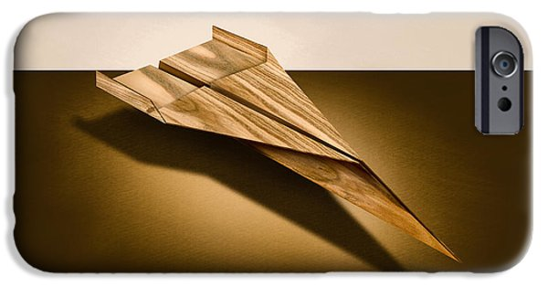 Aeronautics iPhone Cases - Paper Airplanes of Wood 3 iPhone Case by Yo Pedro
