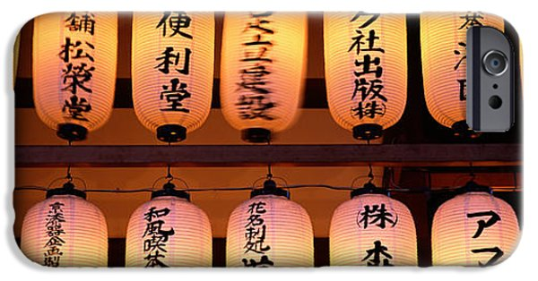 Buddhism iPhone Cases - Paper Lanterns Lit Up In A Row iPhone Case by Panoramic Images