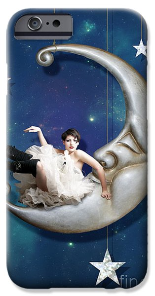 Man In The Moon iPhone Cases - Paper Moon iPhone Case by Linda Lees