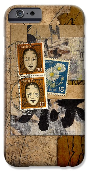 Torn Mixed Media iPhone Cases - Paper Postage and Paint iPhone Case by Carol Leigh