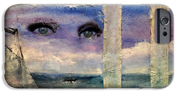 Sailboat Ocean Mixed Media iPhone Cases - Paper Window 3 iPhone Case by Patricia Motley