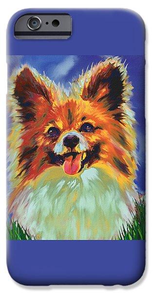 Puppy Digital Art iPhone Cases - Papillion Puppy iPhone Case by Jane Schnetlage