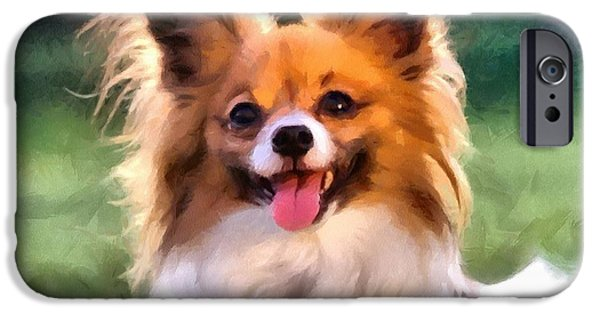 Puppy Digital Art iPhone Cases - Papillon iPhone Case by Gun Legler