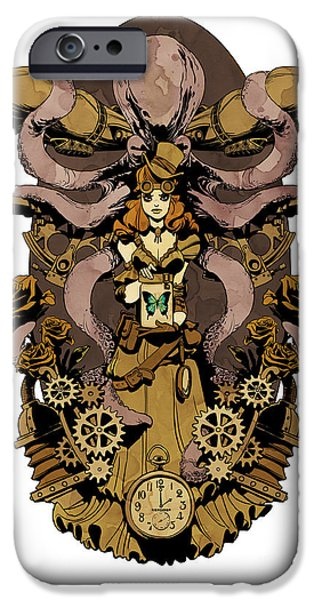 Clockwork iPhone Cases - Papillon mecaniques iPhone Case by Brian Kesinger