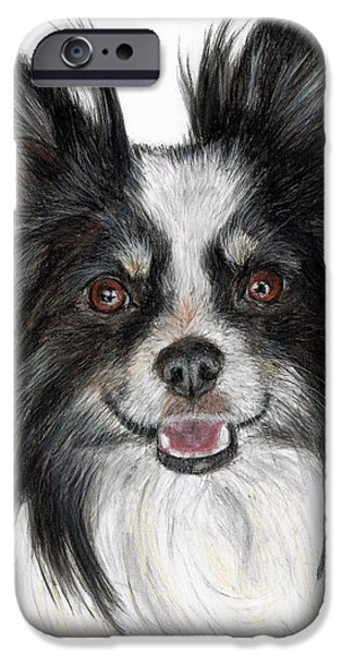 Character Portraits Pastels iPhone Cases - Papillon Painting iPhone Case by Kate Sumners