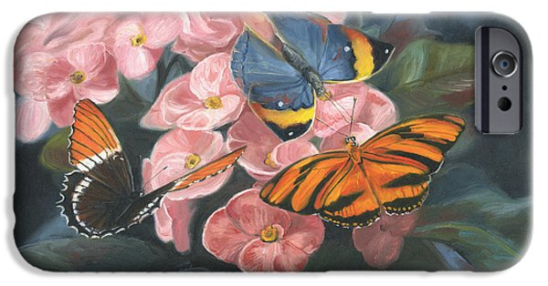 Butterfly Paintings iPhone Cases - Papillons iPhone Case by Lucie Bilodeau