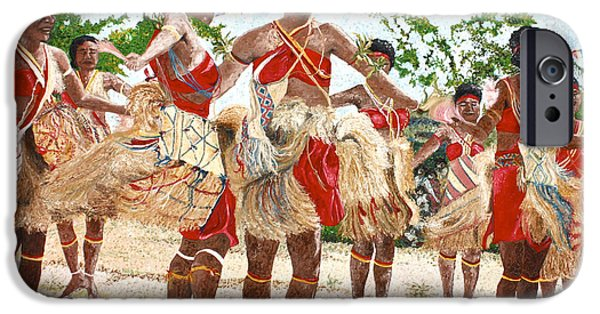Technical Paintings iPhone Cases - Papua New Guinea Cultural Show iPhone Case by Carol Mallillin-Tsiatsios