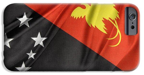 Textile Photographs iPhone Cases - Papua New Guinea flag iPhone Case by Les Cunliffe