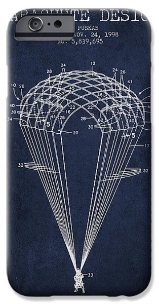 Technical iPhone Cases - Parachute Design patent from 1998 - Navy Blue iPhone Case by Aged Pixel