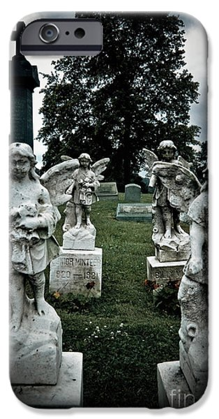Parade of Angels Statues at Cemetery iPhone Case by Amy Cicconi