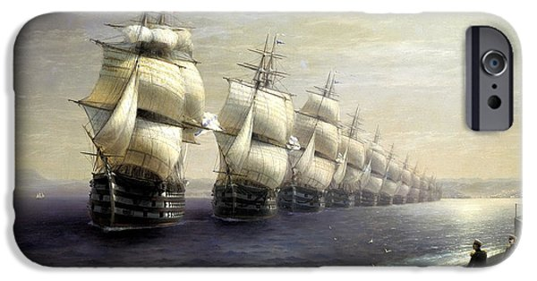 Warship iPhone Cases - Parade Of The Black Sea Fleet In 1849, 1886 Oil On Canvas iPhone Case by Ivan Konstantinovich Aivazovsky