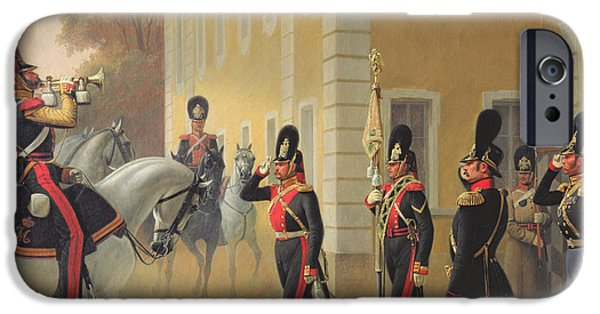 Ceremony iPhone Cases - Parading Of The Standard Of The Great Palace Guards, 1853 Oil On Canvas iPhone Case by Adolph Gebens