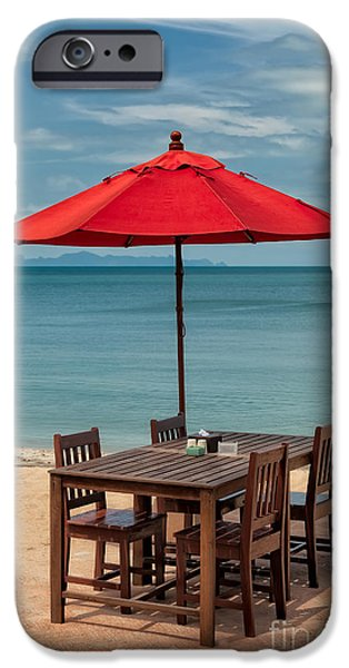 Umbrella iPhone Cases - Paradise Dining iPhone Case by Adrian Evans