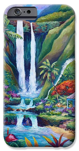 Jungle iPhone Cases - Paradise Falls iPhone Case by John Clark