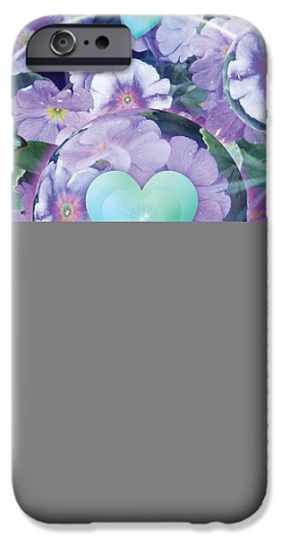 Abstract Digital iPhone Cases - Paradise Garden Heart iPhone Case by Alixandra Mullins