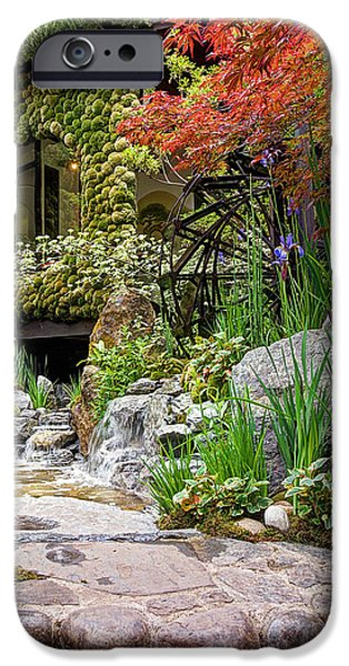Spring Scenery iPhone Cases - Paradise On Earth - Japanese Garden 2 iPhone Case by Gill Billington