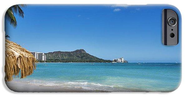 Beach Landscape iPhone Cases - Paradise on Waikiki Beach iPhone Case by LeeAnn White