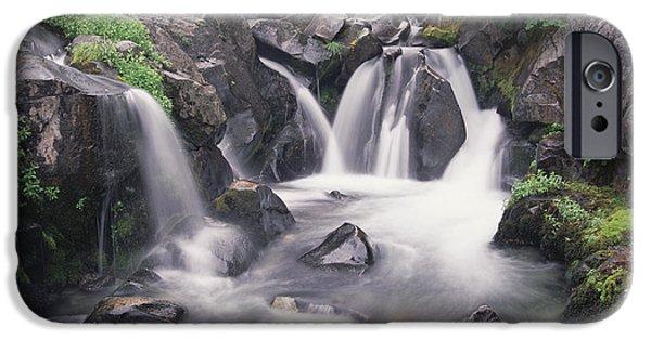 Rainy Day iPhone Cases - Paradise River Cascade Mt Rainier iPhone Case by Tim Fitzharris