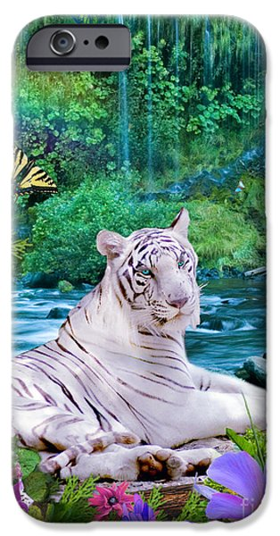 White Tiger iPhone Cases - Paradise Tiger iPhone Case by Alixandra Mullins
