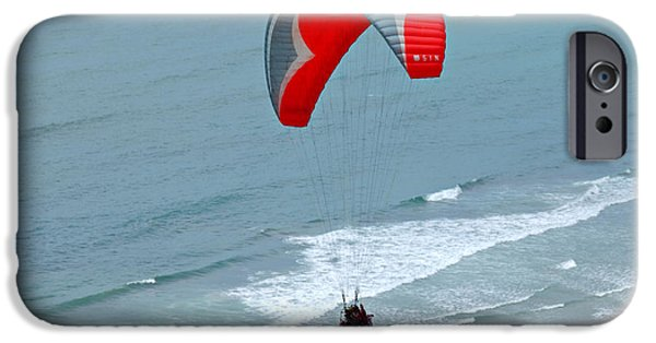 Park Scene iPhone Cases - Paragliding at Torrey Pines iPhone Case by Anna Lisa Yoder