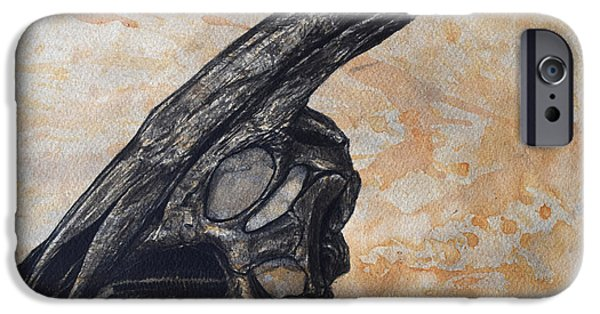 Recently Sold -  - Texture iPhone Cases - Parasaurolophus Walkerii Dinosaur Skull iPhone Case by Harm Plat