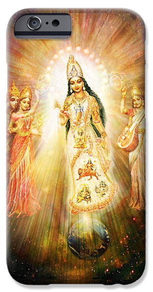 Hindu Goddess iPhone Cases - Parashakti Devi - the Great Goddess in Space iPhone Case by Ananda Vdovic