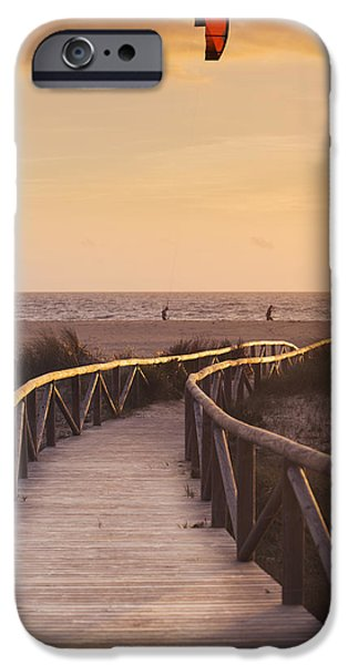Kiteboarding iPhone Cases - Parasurfing Tarifa, Costa De La Luz iPhone Case by Ben Welsh