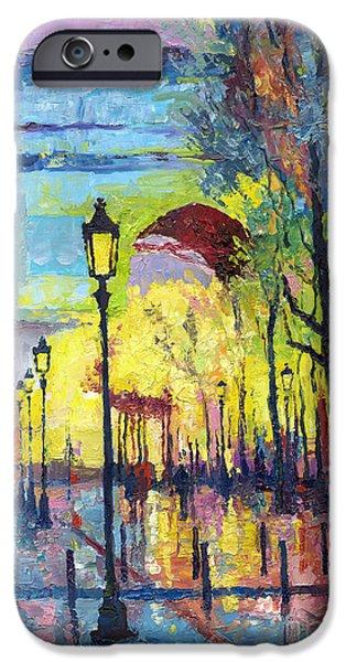 Buildings iPhone Cases - Paris Arc de Triomphie  iPhone Case by Yuriy  Shevchuk
