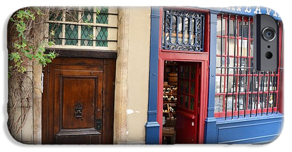 French Doors iPhone Cases - Paris Architecture Brown Door and Wine Shop - Paris Resto Cave A Vins Street Shoppe  iPhone Case by Kathy Fornal