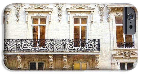 Balcony iPhone Cases - Paris Art Nouveau Winter White Lace Balconies Windows Door Architecture - Paris Window Art iPhone Case by Kathy Fornal