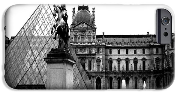 Museum iPhone Cases - Paris Black and White Photography - Louvre Museum Pyramid Black White Architecture Landmark iPhone Case by Kathy Fornal