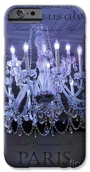 Paris Blue Crystal Chandelier Sparkling Chandelier Art - Paris Blue Shimmering Chandelier Art Deco  iPhone Case by Kathy Fornal