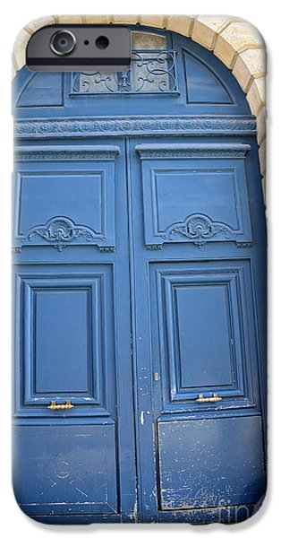 French Doors iPhone Cases - Paris Blue Doors No. 26 - Paris Romantic Blue Doors - Paris Dreamy Blue Doors - Parisian Blue Doors iPhone Case by Kathy Fornal