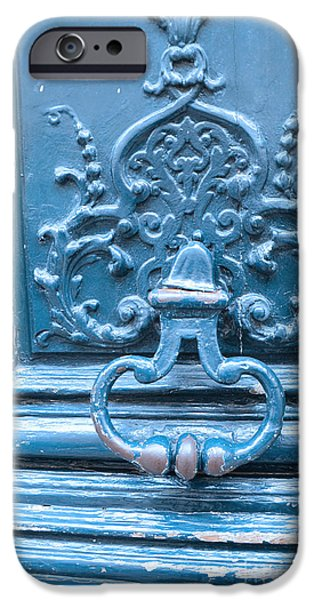 French Doors iPhone Cases - Paris Blue Vintage Door - Paris Antique Vintage Blue Door Knocker - Paris Door Architecture iPhone Case by Kathy Fornal