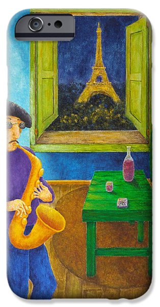 City Scape Mixed Media iPhone Cases - Paris Blues iPhone Case by Pamela Allegretto