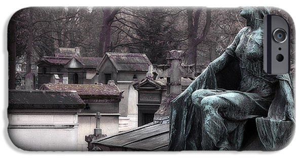 Haunting iPhone Cases - Paris Cemetery Art Sculptures - Female Grave Mourning Figure Monument - Montmartre Cemetery iPhone Case by Kathy Fornal