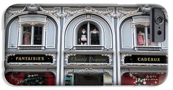 Lingerie iPhone Cases - Paris Chantel Thomass French Lingerie Luxury Shop Architecture Paris Luxury Lingerie Shop iPhone Case by Kathy Fornal