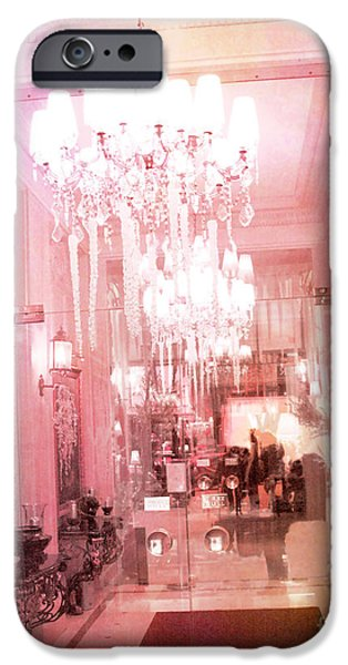 Photographs With Red. iPhone Cases - Paris Crystal Chandelier Posh Pink Sparkling Hotel Interior and Sparkling Chandelier Hotel Lights iPhone Case by Kathy Fornal