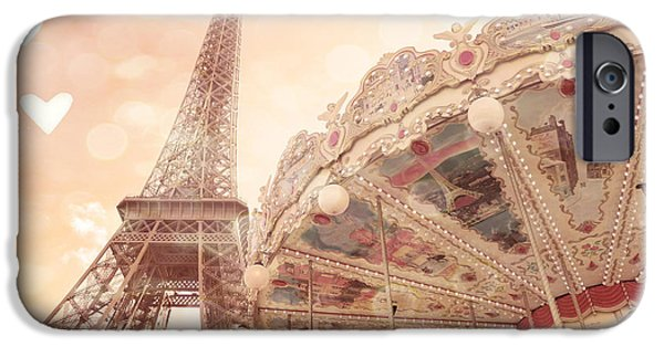 Carousel iPhone Cases - Paris Dreamy Eiffel Tower and Carousel With Hearts - Paris Sepia Eiffel Tower and Carousel Photo iPhone Case by Kathy Fornal