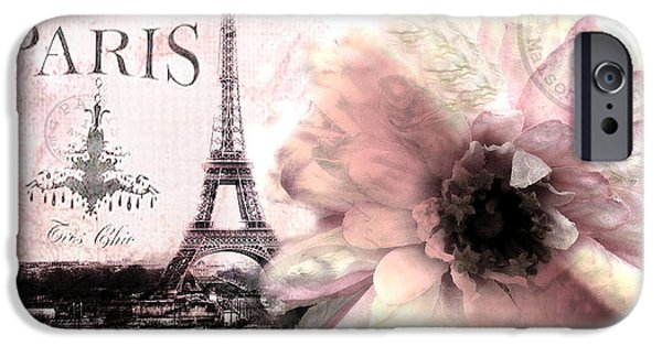 Paris iPhone Cases - Paris Dreamy Eiffel Tower Montage - Paris Romantic Pink Sepia Eiffel Tower and Flower French Script iPhone Case by Kathy Fornal